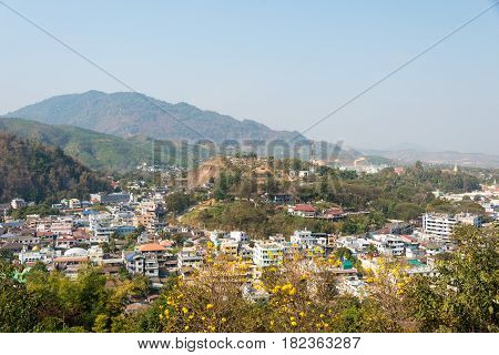 Mae Sai, Thailand. - Feb 26 2015: View Of Mae Sai Town. The Town Of Mae Sai Is A Major Border Crossi