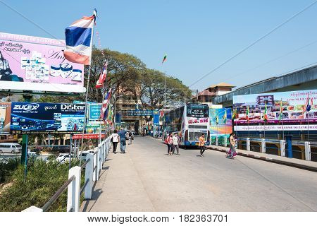 Mae Sai, Thailand. - Feb 26 2015: Myanmar-thailand Bridge In Mae Sai Town. The Town Of Mae Sai Is A