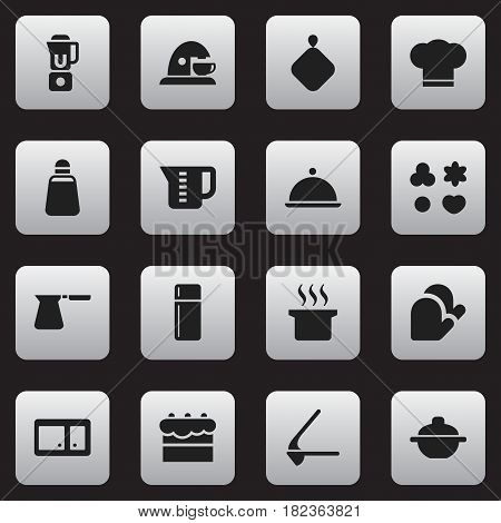 Set Of 16 Editable Food Icons. Includes Symbols Such As Refrigerator, Mensural, Shortcake And More. Can Be Used For Web, Mobile, UI And Infographic Design.