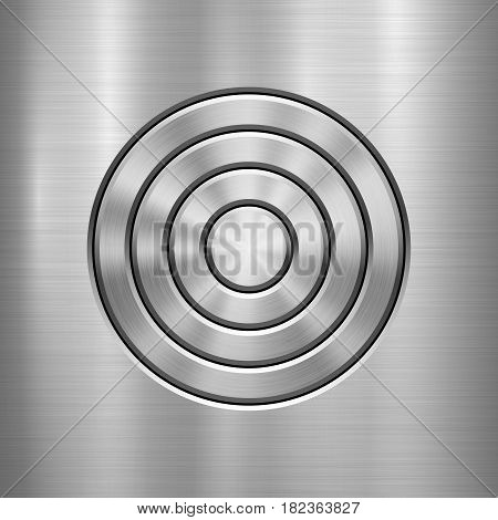 Metal abstract technology background with circle for and polished, brushed texture, chrome, silver, steel, aluminum design concepts, web, prints, posters, wallpapers, interfaces. Vector illustration.