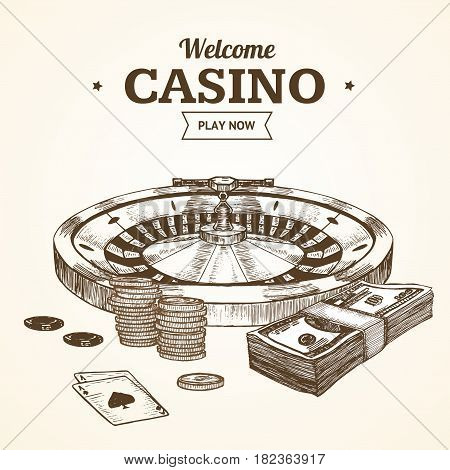 Casino Card or Poster witch Roulette Wheel Hand Draw Sketch Vintage Retro Style . Vector illustration