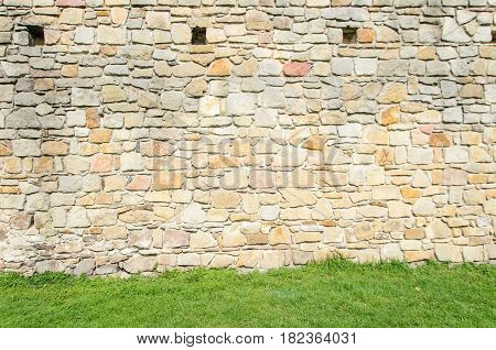 Polish medieval castle texture green grass and yellow and brown wall