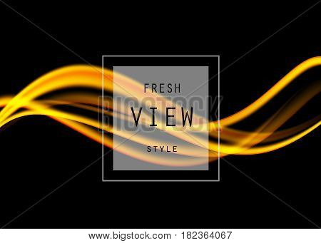 Abstract elegant art design template with orange dynamic bright wavy lines in smooth style on black background. Vector illustration