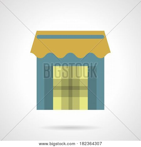 Symbol of store with blue wall and yellow awning. Street trade concept. Flat color style vector icon.