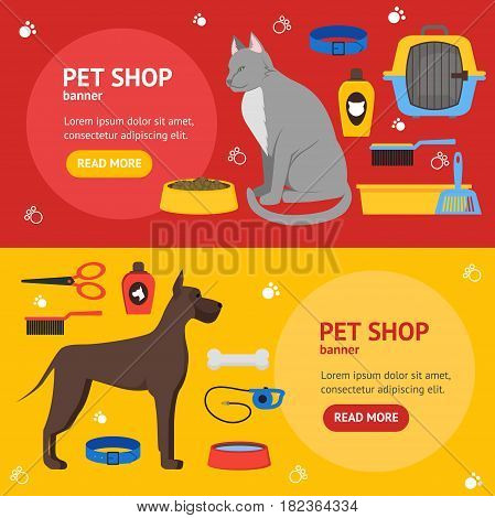 Cartoon Domestic Pet Shop Banner Card Horizontal Set Accessories and Equipment for Dog and Cat Flat Design Style. Vector illustration