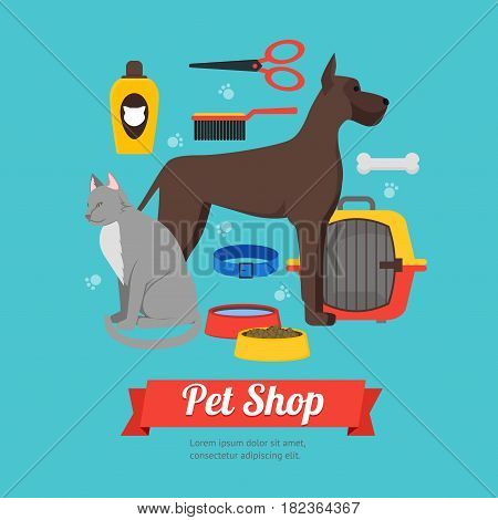 Cartoon Domestic Pet Shop Banner Card Accessories and Equipment for Dog and Cat on a Blue Flat Design Style. Vector illustration