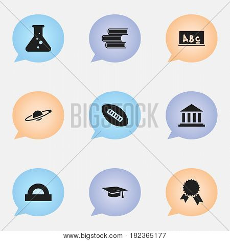 Set Of 9 Editable School Icons. Includes Symbols Such As Museum, Library, Chemistry And More. Can Be Used For Web, Mobile, UI And Infographic Design.