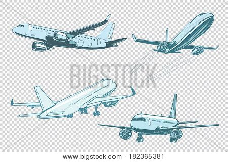Set of passenger airplanes. Air transport. Pop art retro vector illustration