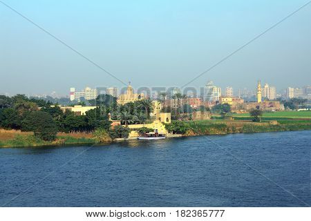 view on Cairo from bridge across Nile river