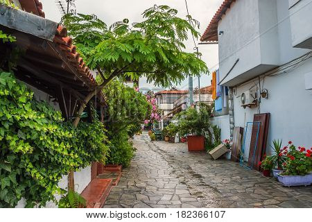 Beautiful view of quite streets in Ouranopolis, Athos Peninsula, Mount Athos, Chalkidiki, Greece