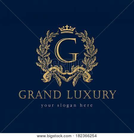 Grand Luxury logo. Grand Luxury royal professional vector classic logo template for any kind of business. Letter G logo template in laurel branches frame