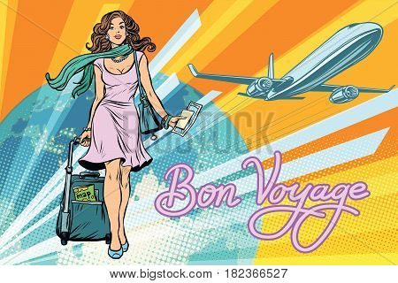 Beautiful girl with a ticket for the flight. Pop art retro vector illustration. Travel and tourism. Lifestyle