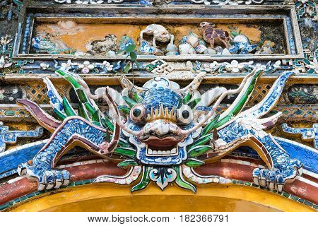 Hue, Vietnam - Jan 22 2015: Dragon Statue At Imperial City(unesco World Heritage Site). A Famous His