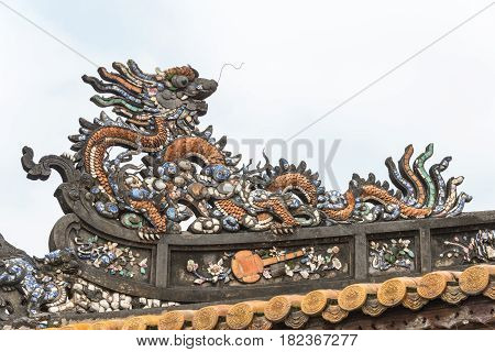 Hue, Vietnam - Jan 22 2015: Roof At Imperial City(unesco World Heritage Site). A Famous Historical S