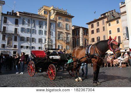 Rome, Italy: Feb 17. 2017 - Piazza della Rotonda - buildings and dramatic sky, Rome, Italy