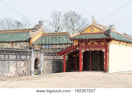 Hue, Vietnam - Jan 22 2015: Imperial City(unesco World Heritage Site). A Famous Historical Site In H