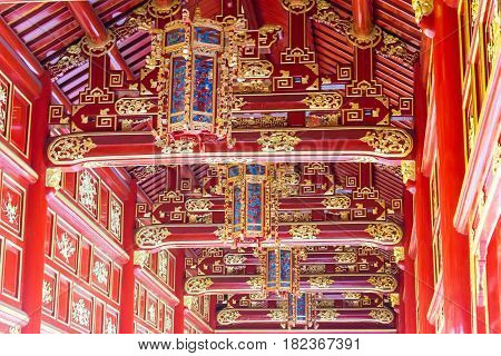 Hue, Vietnam - Jan 22 2015: The Ceiling At Imperial City(unesco World Heritage Site). A Famous Histo