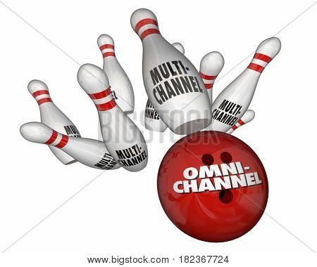 Omnichannel Vs Multi-Channel Bowling Ball Strike Marketing 3d Illustration