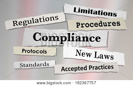 Compliance Regulations Laws Rules News Headlines 3d Illustration