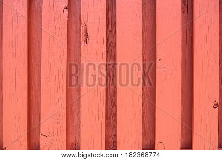 Red Orange Wood Fence Background outside with lines