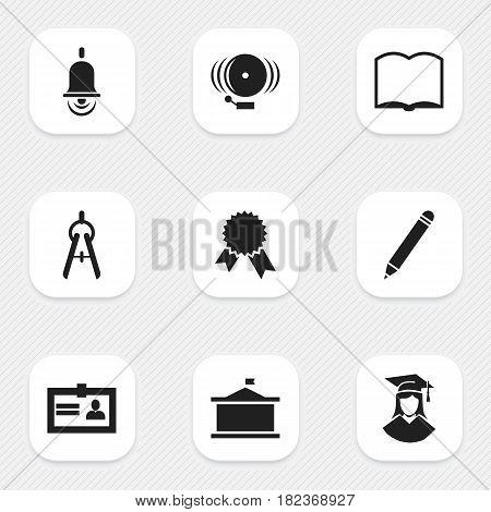 Set Of 9 Editable Graduation Icons. Includes Symbols Such As Ring, Pencil, Univercity And More. Can Be Used For Web, Mobile, UI And Infographic Design.