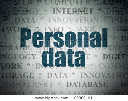 Data concept: Painted blue text Personal Data on Digital Data Paper background with   Tag Cloud
