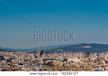 Barcelona cityscape overlook from Montjuic
