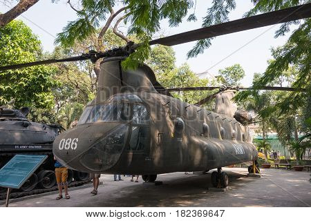Ho Chi Minh City, Vietnam - Jan 27 2015: Ch-47 Chinook At War Remnants Museum. A Famous Historical M