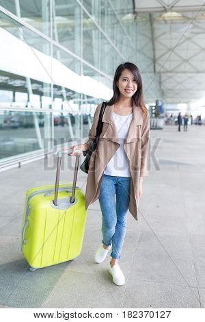 Woman go travel trip