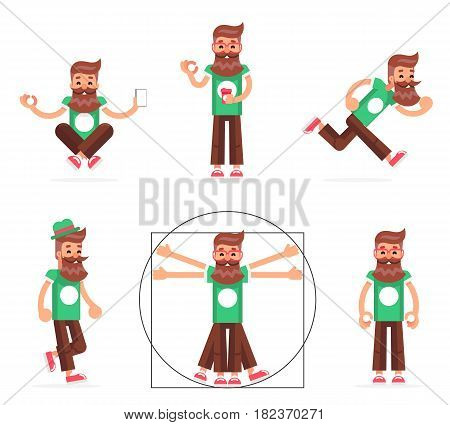 Hipster Geek Stand Run Walk Meditate New Smartphone Mobile Apps Technology Enlightenment Cartoon Character Icons Symbol Set Design Template Vector Illustration