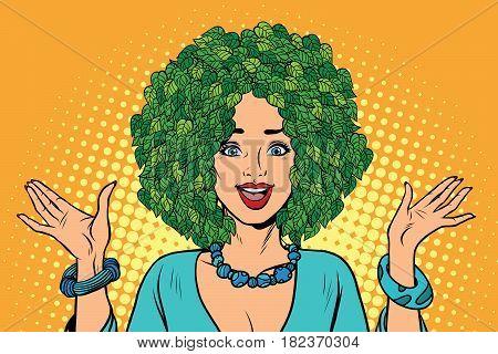 Eco woman hair green plants nature. Environmentalist activist. Pop art retro vector illustration