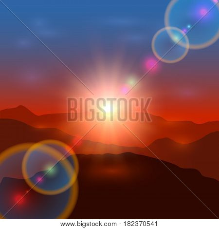Beautiful landscape with shining sun sunrise or sunset in the mountains, illustration.
