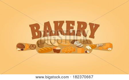 Bakery poster design concept with rolling pin and bread, sweet bun, cookies, croissant, cake, donut products