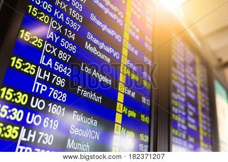 Departure board information board in airport