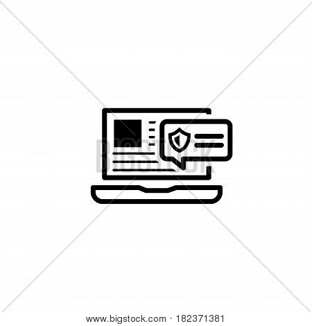 Security Alert Icon. Flat Design. Security Concept with a Laptop and a Security Notification. Isolated Illustration. App Symbol or UI element.