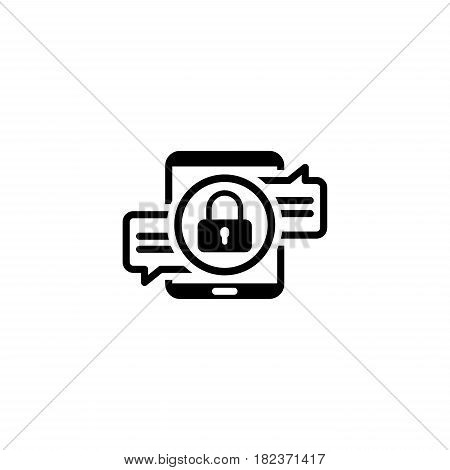 Encrypted Messaging Icon. Flat Design. Security Concept with a Tablet and a Message with Padlock. Isolated Illustration. App Symbol or UI element.