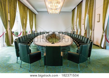 Ho Chi Minh City, Vietnam - Jan 26 2015: Cabinet Room At Independence Palace. A Famous Historical Mu