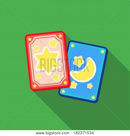 Tarot cards icon in flate style isolated on white background. Black and white magic symbol vector illustration.