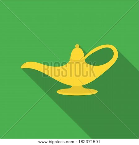 Genie's lamp icon in flate style isolated on white background. Black and white magic symbol vector illustration.