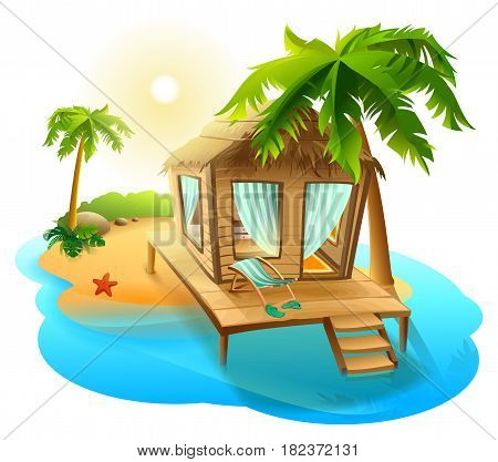 Beach vacation. Thatched hut bungalow on tropical island. Isolated on white vector cartoon illustration