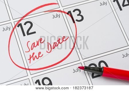 Save The Date Written On A Calendar - July 12