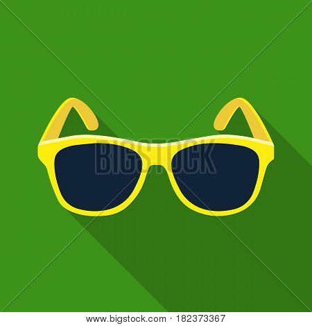 Yellow trendy sunglasses icon in flate design isolated on white background. Brazil country symbol stock vector illustration.