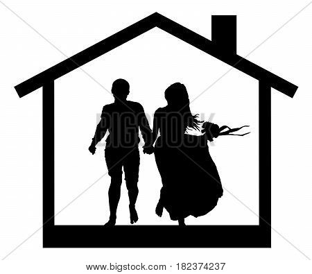 Young couple in the house silhouette vector