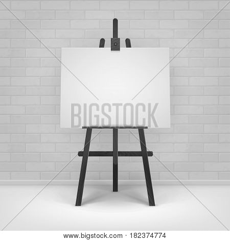 Vector Wooden Black Easel with Mock Up Empty Blank Horizontal Canvas Standing on Floor in front of Brick Wall