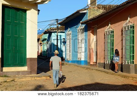 Cobbled streets in Trinidad the most tourist city on Cuba