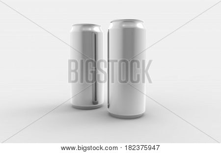 Two Aluminum Soda Or Beer Metal Cans Isolated On White.