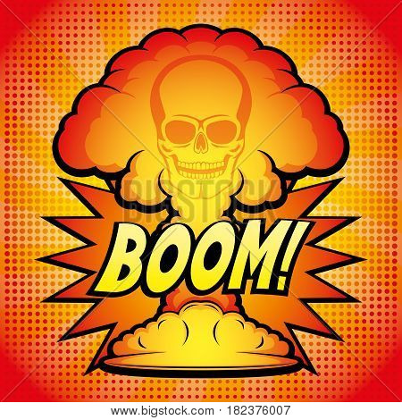 Sign of nuclear explosion on a red background.