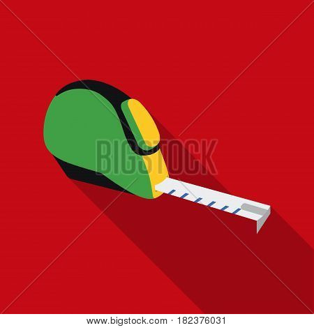 Tape measure icon in flate style isolated on white background. Build and repair symbol vector illustration.