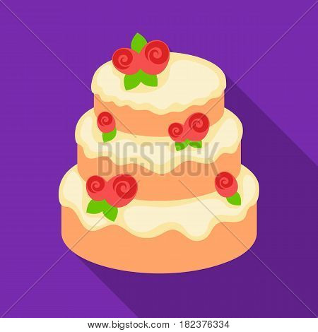 Cake with roses icon in flate design isolated on white background. Cakes symbol stock vector illustration.