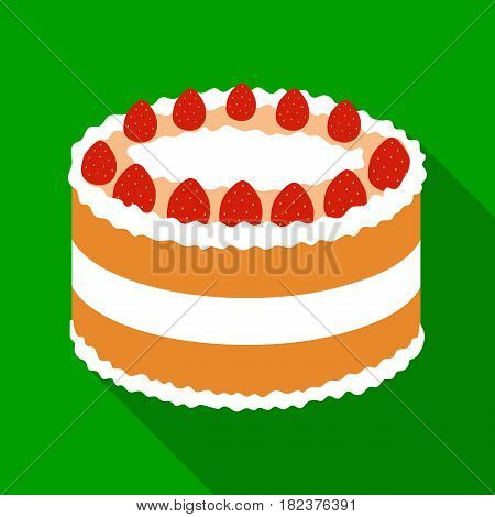 Strawberry cake icon in flate design isolated on white background. Cakes symbol stock vector illustration.